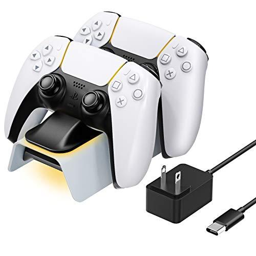 PS5 コントローラー 充電スタンド ATiC PS5コントローラー 充電器 2台同時に充電 コントローラーインジケータシンクロ LED指示 収納スタンド Black