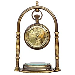JD'Z COLLECTION Desk Clock Table Clock with Maritime Vintage Brass Compass Antique Victoria London Table Clock Desk & Shelf Clock Nautical Brass Antique Table Clock (Antique Finish)