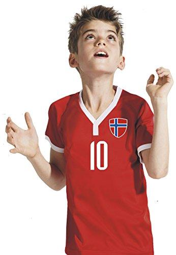 Aprom-Sports Norwegen Kinder Trikot - Hose Stutzen inkl. Druck Wunschname + Nr. RRR WM 2018 (128)