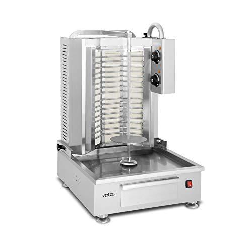 vertes Gastro Dönergrill inkl. Fleischschaufel (4.800 Watt Leistung, 230 V, 2 Keramikbrenner, getrennte Temperaturreglung 50-300 °C, Drehspießabstand regulierbar, Edelstahl)