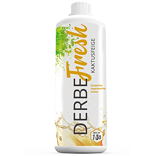 DERBE FRESH Sport Getränkekonzentrat - Kaktusfeige Sirup ohne Zucker- 1 L Flasche (Zuckerfreier Getränkesirup, Vital Drink, Sodastream Sirup Mineraldrink Konzentrat, 1:80)
