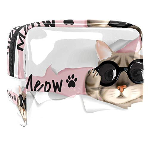 Maquillage Cosmetic Case Multifunction Travel Toiletry Storage Bag Organizer for Women - Mow Cool Glasses Cat