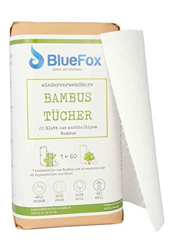 BlueFox Bambus-Küchenrolle 2er Set, saugstarke, reißfeste und saugstarke Küchentücher, ersetzt ca. 60 Papiertücher Rollen, wiederverwendbarer Putzlappen, Bambustuch waschbar, 100% kompostierbar