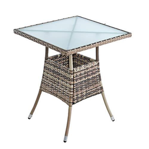 ESTEXO Polyrattan Gartentisch Beistelltisch Rattan Tisch Balkontisch Gartenmöbel Terrassentisch 60x60 cm (Beige-Braun)