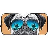 HUGS IDEA Car Windshield Sunshade, Keeps Out UV Rays, Protectors Vehicle Interior, Pug Dog with Sunglasses Car Sun Visor