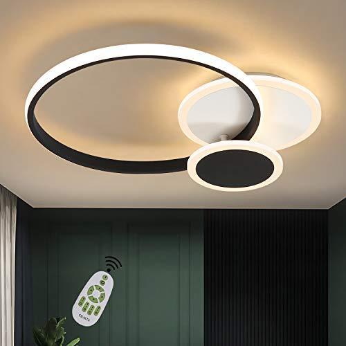 CBJKTX lámpara de techo LED lámpara de sala de estar moderna regulable 39W diseño de anillo negro blanco hecho de hierro aluminio y acrílico para comedor dormitorio sala de estar oficina pasillo