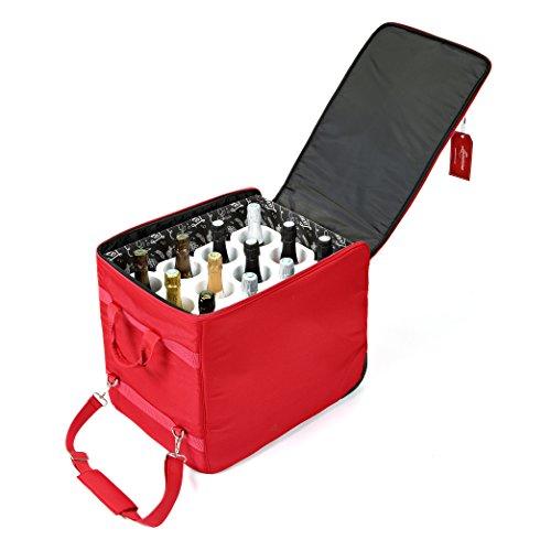 The Wine Check rosso - Borsa da imbarco per vino + Protettore Lazenne per 12 bottiglie di grandi dimensioni