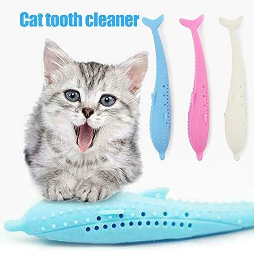 Cutito Katze Zahnbürste, Silikon Fisch Form Beißring Spielzeug mit Katzenminze Haustier Spielzeug - Weiß
