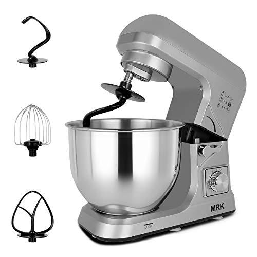 MRK MK36C Küchenmaschine Rührmaschine, teigmaschine,1000 Watt, 5-Liter Edelstahlschüssel, 6-Geschwindigkeitsregler mit Pulsfunktion mit 4 Zubehören(grau)
