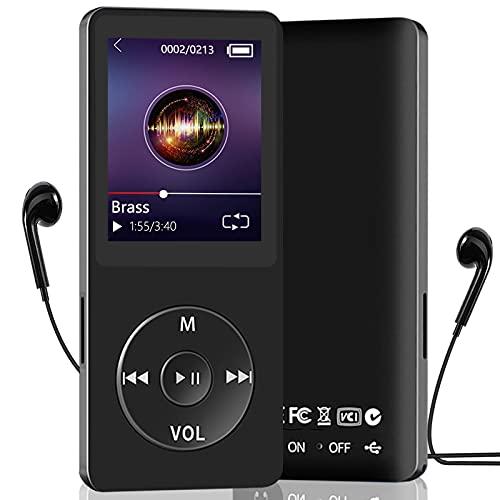 Reproductor de MP3, Reproductor de Música Running HiFi Lossless Sound, Reproductor de Audio Digital de 1,8 Pulgada, Altavoz Incorporado, Grabación de Voz, Radio FM, Soporta TF hasta 128GB