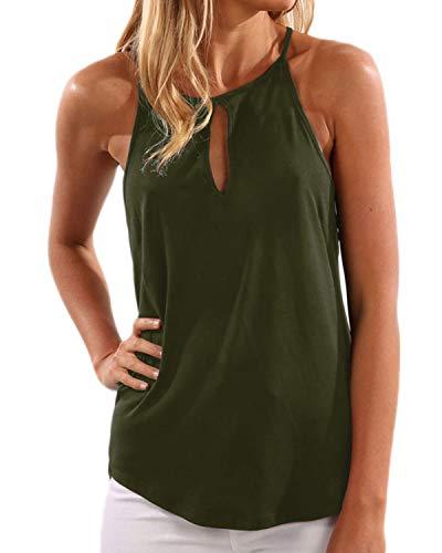 YOINS Donna Top Canotta Estiva T-Shirt con Scollo a V e Spalle Scoperte Verde XL/EU46