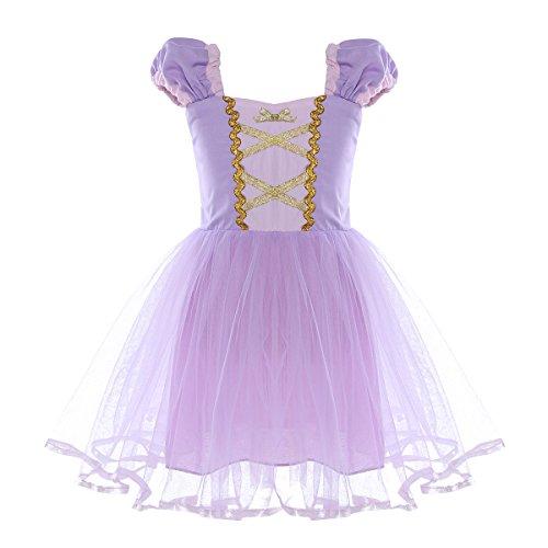 IEFIEL Disfraz de Princesa para Niñas Bebes Vestido Corto Elegante Vestido de Pincesa Dorado Traje de Fiesta Ceremonia Bebé Niña (12 Meses -5 Años) Violeta 12-18 meses