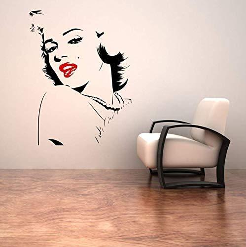 Adesivo Murale Marilyn Monroe Sexy Labbra Rosse Bellezza Viso Vinile Design Per La Casa Decorazioni Per La Camera Da Letto Decalcomanie Poster Di Moda Murale 57 * 74 Cm