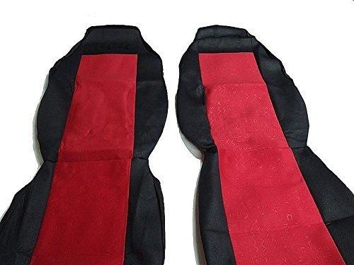 2 x vrachtwagenstoelhoezen polyester zwart-rood hoezen vrachtwagen nieuw
