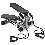 ZINRAY Mini Stepper with Resistance Bands, Stair Steppers for Exercise with LCD Monitor Home Exercise Equipment