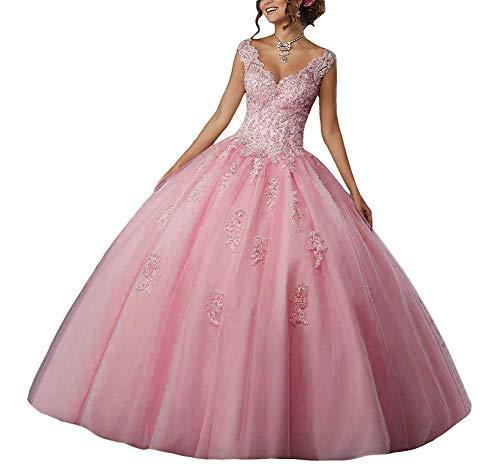 JAEDEN Vestido de Fiesta Largo Vestido de Novia Vestidos de quinceañera Encaje Tul V-Cuello