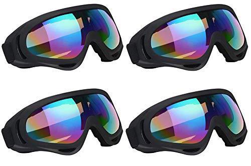 KKING Winddichte staubdichte Sport-Ski-Schutzbrille Herren- und Damen-Sonnenbrille Geeignet für CS Army Tactical Military Airsoft-Schneemobil-Fahrrad-Schutzbrille für den Außenbereich Sport,Bunt,4PCS