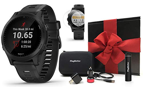 Garmin Forerunner 945 (Black) Running GPS Watch Gift Box Bundle | +PlayBetter HD Screen Protectors (x4), PlayBetter USB Charging Adapters & Protective Case | Prepacked w/Bow & Filler | Spotify/Music