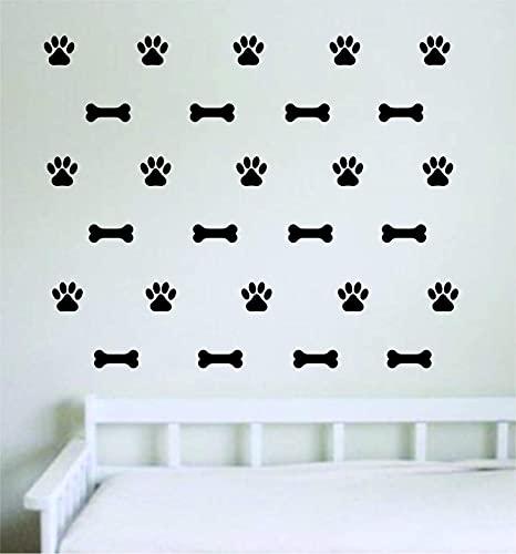 Adhesivo decorativo para pared, diseño de huellas de perro y patrón de hueso, decoración de vinilo lindo animal amor, cachorro, mascota veterinaria, adolescente divertido bebé guardería sala de juegos