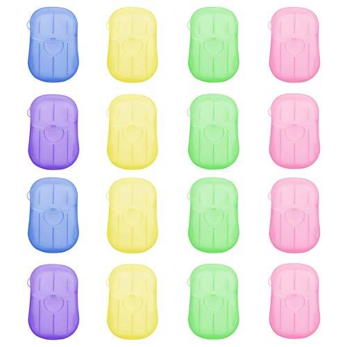 AODOOR 16 cajas de jabón de papel desechable portátil, mini hojas de jabón perfumadas, hojas de jabón con caja de almacenamiento, copos de jabón de papel espumoso para lavado al aire libre, limpieza