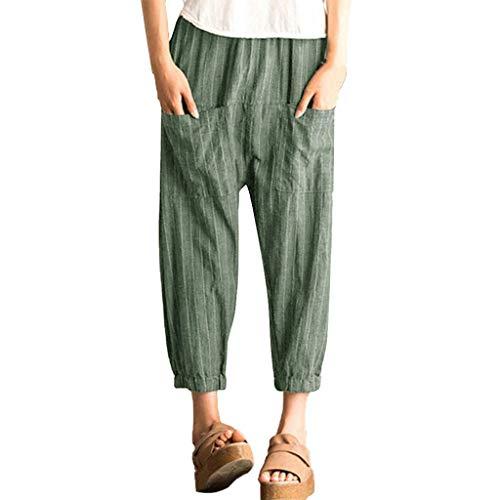 TUDUZ Damen Hose Streifen Lose Freizeithose mit Taschen Thai Hippie Hose Hosenrock Haremshose Pumphose(Grün,Small)