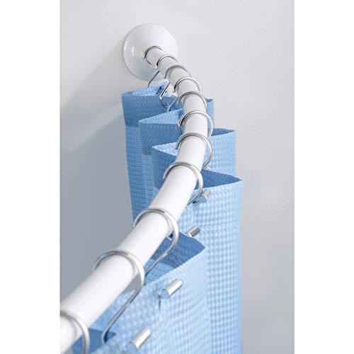 InterDesign - Barral Curvo Ajustable para Cortina de cubículo de Ducha - 104 cm a 183 cm, Color Blanco