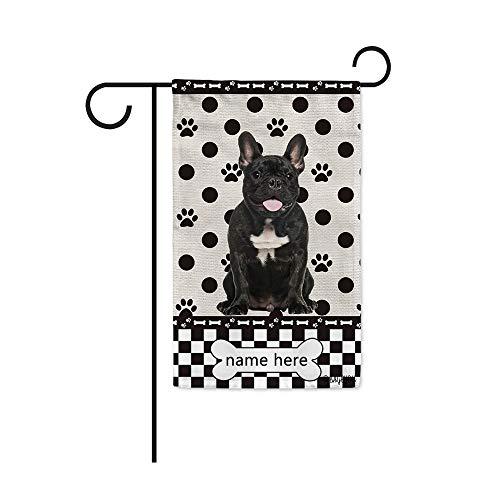 BAGEYOU Custom Dog Name Polka Dots Garden Flag Cute French Bulldog Buffalo Check Plaid Paw Bone Decor Home Banner for Outside 12.5x18 Inch Print Both Sides