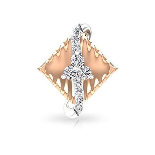 0,19 ct Art Deco Rhombus IGI zertifizierte Diamant-Ohrstecker, einzigartige Hochzeit Ohrringe, Braut zweifarbig Gold Ohrring, Muttergeburtstag Jahrestag Ohrring 18K Roségold, Einzelstück