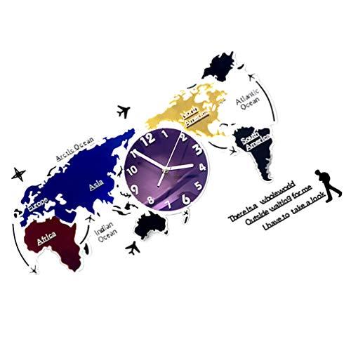 VOSAREA DIY Weltkarte Wanduhren Weltzeit Hängende Uhren Bunte Weltkarte Wandtattoo Aufkleber Hintergrund Hintergrund für zu Hause Wanddekoration 78X35cm ohne Batterie