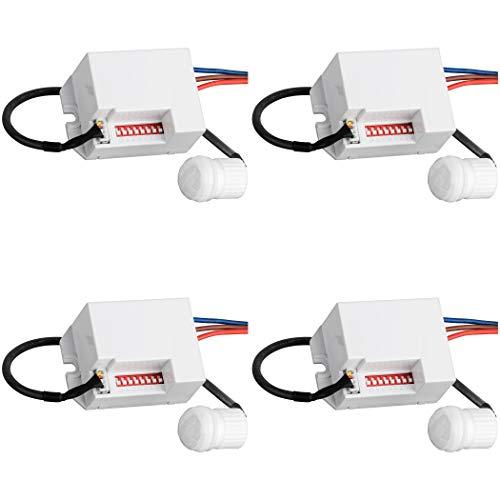 SEBSON® Mini Bewegungsmelder Innen - 4er Set - Unterputz Deckenmontage zum Einbauen programmierbar, Infrarot Sensor Reichweite 6m / 360° LED geeignet, 3-Draht