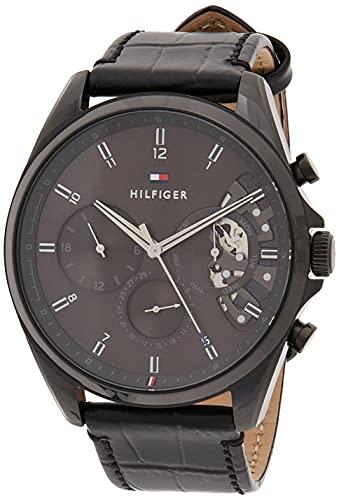 Tommy Hilfiger Herren Analog Quarz Uhr mit Leder Armband 1710452