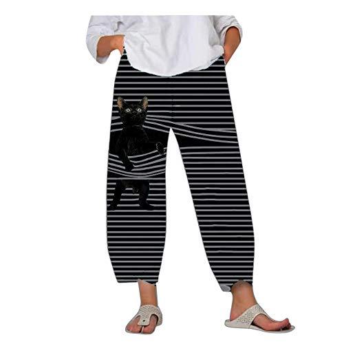 Pantalones de chándal para el día de San Valentín Pantalones de chándal Pantalones de chándal Sueltos con Bolsillo a Rayas de Gato con Cintura elástica para Mujer