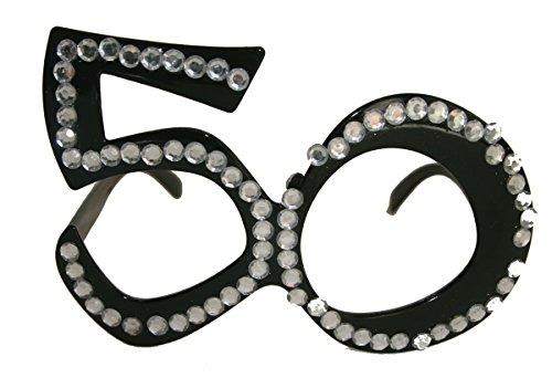 Folat 00753 50. Geburtstag Spaß-Brille mit Diamanten-Schwarz, Einheitsgröße