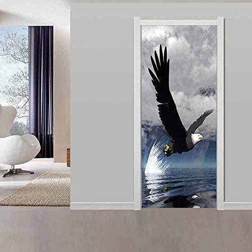 Kunstwerke 3D,Adler Tierplakat,Türtapete Selbstklebend Türposter Wohnzimmer Wandaufkleber Tapetensticker Fensterbild