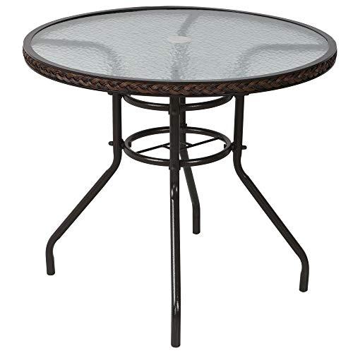 Outsunny Table Ronde Bistro de Jardin dim. 80L X 80l x 71H cm métal époxy résine tressée Chocolat Plateau Verre trempé