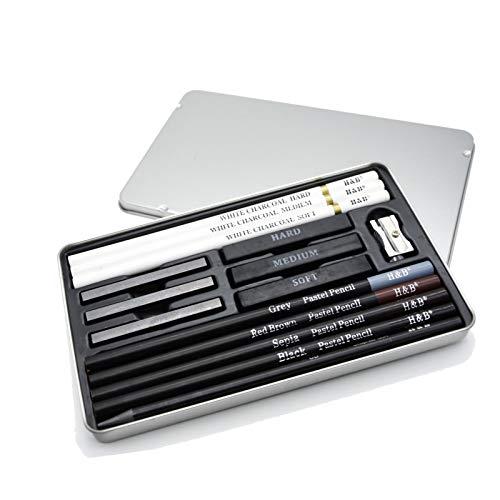 デッサン鉛筆 15点セット BEADY デッサンツール 子供や大人も適用な絵具 初心者とブロ向けの鉛筆 スケッチ用 鉛筆セット