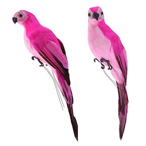 Sharplace 2pcs Realistische Rosa Papagei Gartenfigur Wellensittich Vogel Zaun Baum Balkon Garten Deko