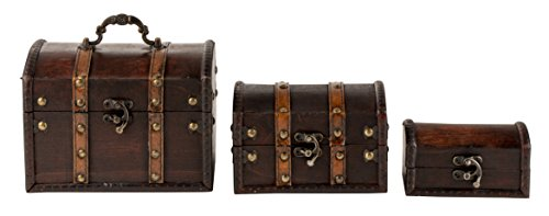 Antique Wooden Treasure Chest, Keepsake Boxes (3 Piece Set)