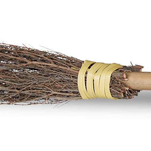 Relaxdays 10023850, Natural Witch Broomstick, Bamboo Handle, Halloween Accessory For Adults & Kids, Costume, Broom, 93 cm, Unisex, standard size
