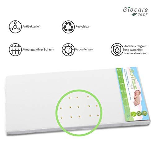 Babymatratze 90x40 von Biocare360° preisgekrönte antibakterielle atmungsaktive Wiegenmatratze, Außenbezug 100% Bambus (Bamboo), wasserabweisend und antiallergisch