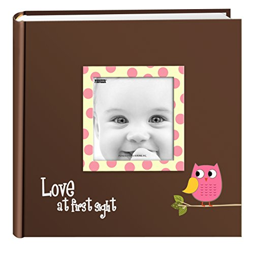 Pioneer Photo Albums EV-246FB/O 200-Pocket Baby Owl Printed Designer Frame Cover Photo Album, Pink