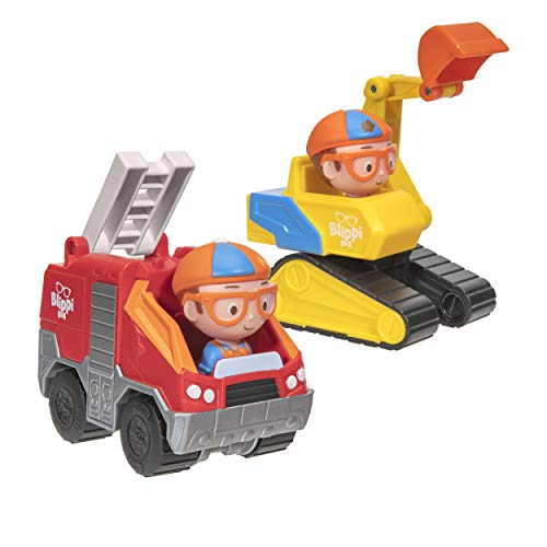 Blippi Mini Vehicles, Including Excavator and Fire Truck, Each with a Character Toy Figure Seated Inside - Zoom Around The Room for Free-Wheeling Fun - Perfect for Young Children