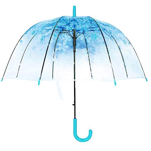 strimusimak Parapluie Créatif en Forme De Cage à Oiseaux, Motif Floral Transparent Coupe-Vent Mignon Parapluie pour Filles Femmes Portable Bleu
