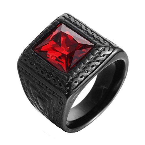 HIJONES Hombre De Acero Inoxidable con Piedra Roja Grande Negro Anillo TamañO 17