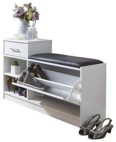 Home Source - Hallway Shoe Storage Cabinet Telephone Table Padded Seat 1 Door 1 Drawer White