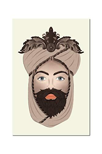 Quadro su Tela, Testa di Moro Uomo, seppiato Sfondo Panna. Sicilian Art Design. 60 x 90cm. Misure Personalizzabili su Richiesta.
