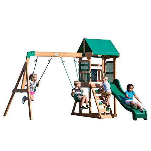 Backyard Discovery Spielturm Buckley Hill aus Holz | XXL Spielhaus für Kinder mit Rutsche, Schaukel und Kletterleiter | Stelzenhaus für den Garten