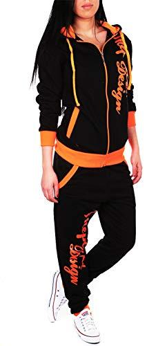 Violento Damen Jogginganzug Jogging Hose Jacke Sportanzug Sporthose Fitness Hoodie Hose schwarz/orange XS [35-36]
