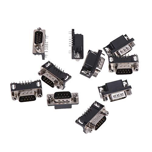 Fagu 10 Piezas RS232 Serial DB9 DB-9 Conector Macho/Hembra de 9 Pines Enchufe en ángulo Recto