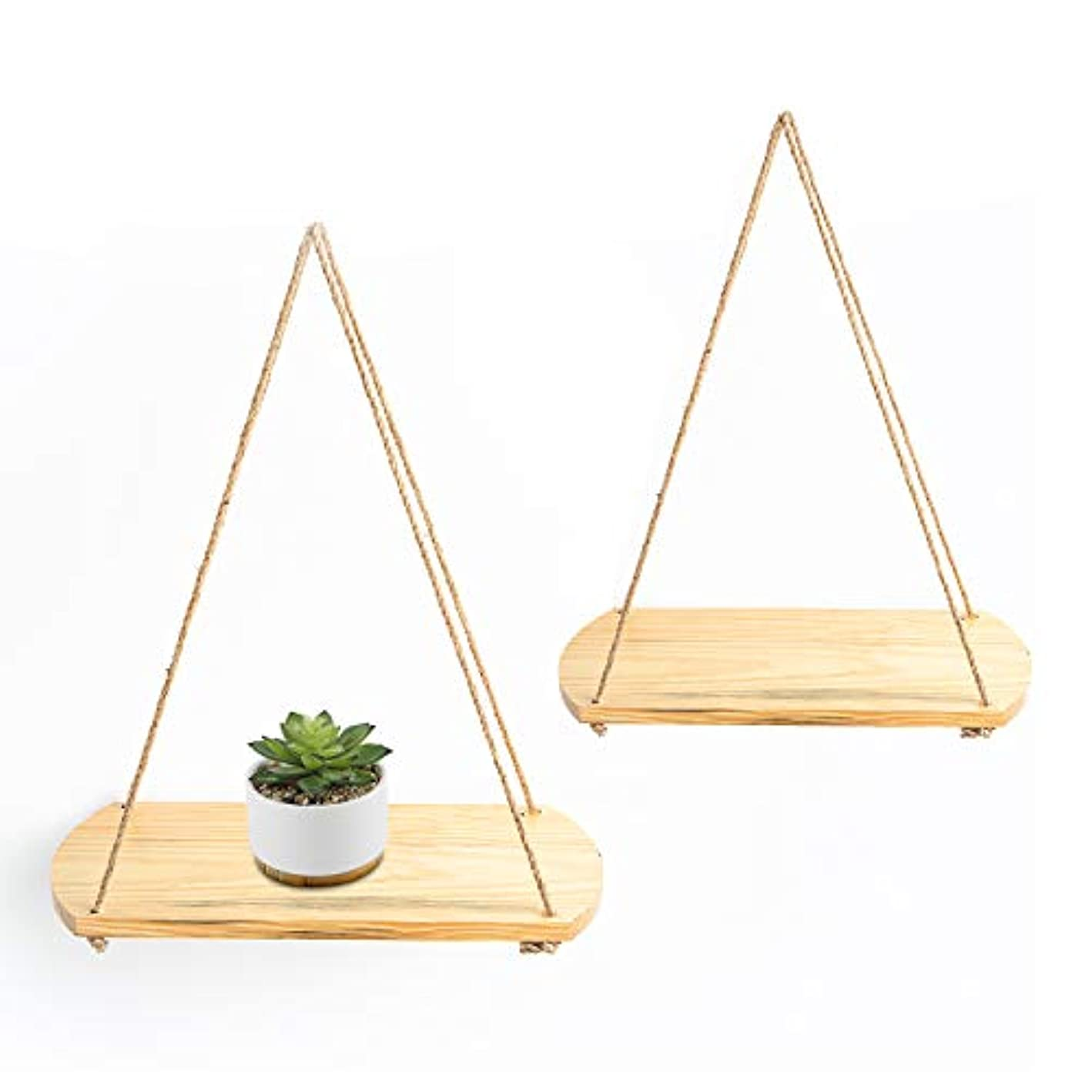 Knam Beautiful Wood Hanging Swing Rope Floating Shelves for Wall Decoration | Set of 2
